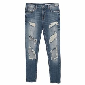 Zara Destroyed Relaxed Fit Medium Rise Denim Jeans